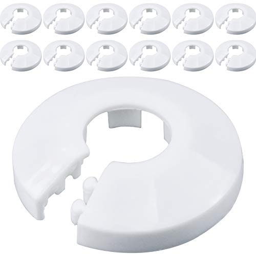 WEKON 12Pcs Radiador Plástico de Tubo, Collar para Tubería, Roseta de Tubo, Cubierta Collar de Tubo, Cubierta de Tubería Plástica Blanco PP