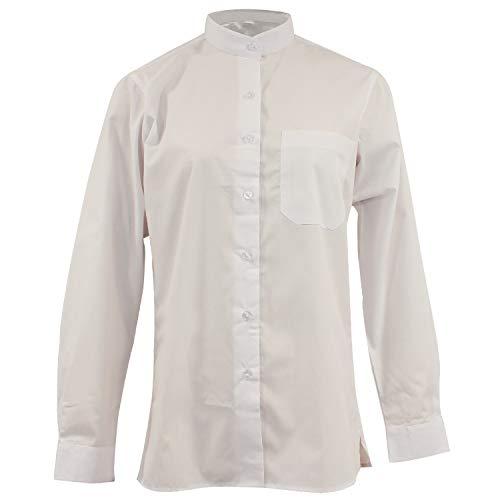 MISEMIYA - Camisa Uniforme Camarera SEÑORA Cuello Mao Mangas LARGAS MESERO DEPENDIENTA Barman COCTELERA PROMOTRORAS - Ref.8271 - XS, Blanco