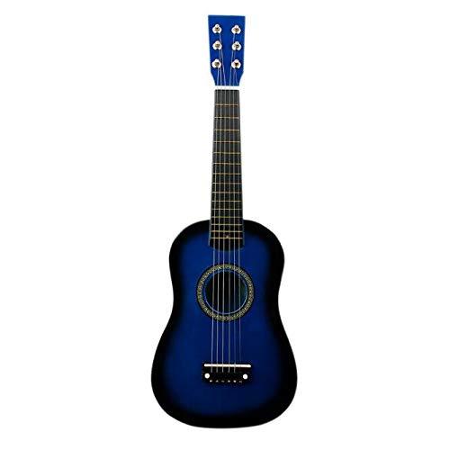 KEPOHK Mini guitarra de madera maciza de 21/23 pulgadas para niños y principiantes Guitarra acústica de tilo 12 trastes Guitarra de 6 cuerdas con púas 23 pulgadas azul