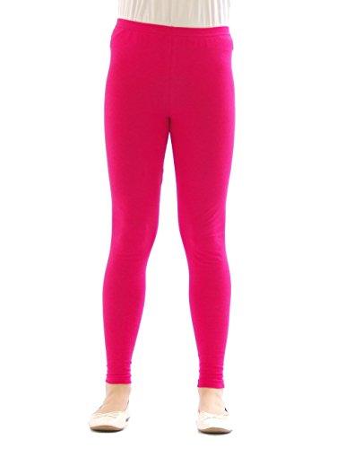 yeset Kinder Mädchen Leggings lang Blickdicht aus Baumwolle Hose Jungen Pink 104