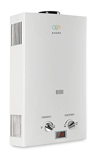 AVERA Calentador de agua para 2 regaderas, GAS LP, C12L, Boiler de paso. Calentador instantáneo.