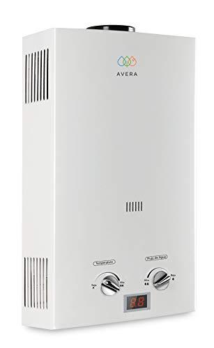 AVERA Calentador para 2 regaderas GAS LP. C12L. Boiler de paso. Calentador de agua instantáneo.