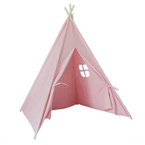 XZGang Children's Indian Castle Tent, Solid Wood Pole - Assembly - Living Room Pink Play Tent Children's Bookstore Play Tent - Tale Tent Children's space ( Color : Pink , Size : 120*120*145CM )