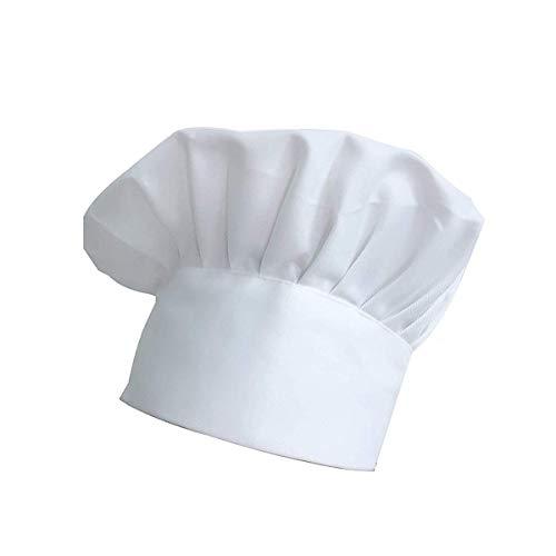 Chef Hat, Cloth Adjustable Elastic Kitchen Cooking Headgear(White)