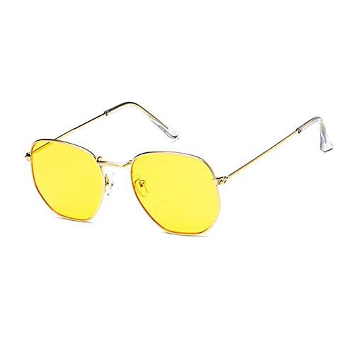 MVAOHGN 2021 Vintage Metal Gafas de Sol Hexagonales Mujeres/Hombres Diseñador de Marca Retro Conducción Espejo Gafas de Sol UV400 (Lenses Color : C10)