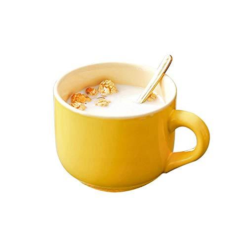 Taza De Café De Cerámica, Tazas Grandes Con Cucharas De 500 Ml, Elegantes Tazas De Leche De Avena Para El Desayuno, Regalos Creativos Para Amigos y Familiares (Amarillo)