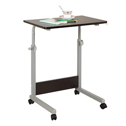 Mesa de trabajo para ordenador con ruedas y altura ajustable (65 – 95 cm) para lectura de enfermería hospitalaria y mesa portátil (color: negro, tamaño: 60 x 50 cm)