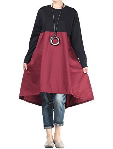 Vogstyle Damen Langarm A-Linie Beiläufige Lose mit Tasche T-Shirt-Kleid Art 3-Rot XXL