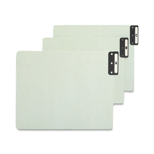 Smead 100% Recycled End Tab Pressboard File Guides, Vertical Metal Tab (A-Z), Extra Wide Letter Size, Gray/Green, Set of 25 (61676)