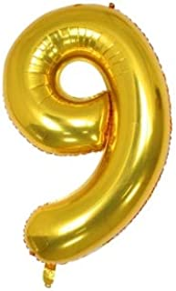 40 Inch Number 9 Balloon Glittering Golden Color Grand Size for Special Occasions and Birthday Wedding Anniversary Decorat...