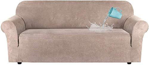 LINGKY Fodera per Divano in Velluto Universale, Copridivano in Velluto Elasticizzato per Divano A 1/2/3/4 Posti, Idrorepellente, Vari Colori, Pelle & Scamosciato (Cachi,4 posti(228-292 cm))