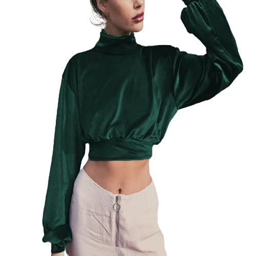 guiyuan Otoño e Invierno Moda para Mujer Cuello Alto Terciopelo Corto Recortado Suéter Delgado Delgado Manga Larga Top Verde Oscuro S
