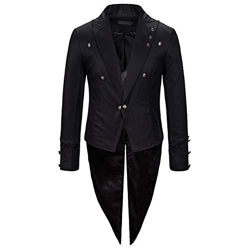 Veste Queue De Pie Blouson Veste Costume Homme Rétro Longue Slim Fit Manteau Manches Longues Col V Boutonné Gothique