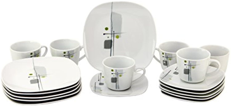 Kaffeeservice Lido 36tlg. leicht eckig Porzellan für 12 Personen wei mit Dekor