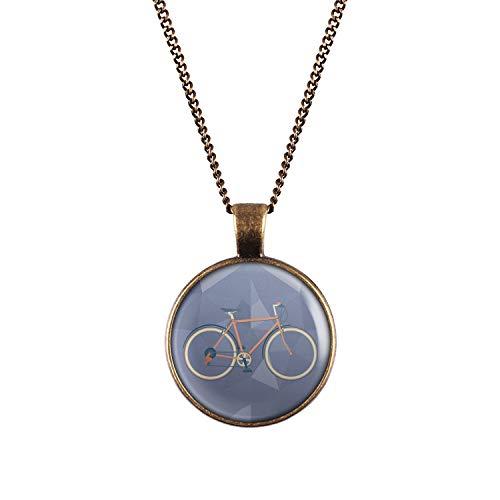 Mylery Halskette mit Motiv Renn-Rad City-Rad Rot Bronze 28mm
