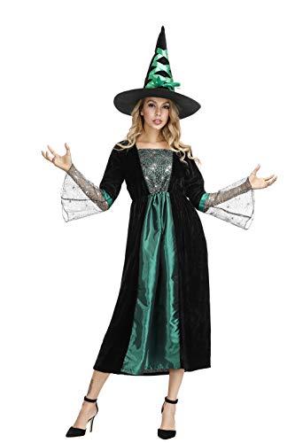 Frawirshau fantasia de bruxa para mulheres vestido de feiticeira Wicked chapéu de bruxa sexy fantasias de Halloween, Verde, XX-Large