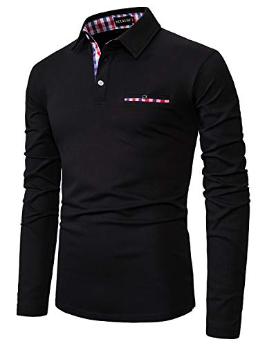 YCUEUST Coton Treillis Homme Manche Longue Polo Casual Basic Tennis Golf T-Shirt Noir XXXL
