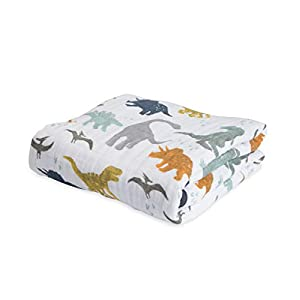 """Little Unicorn Cotton Muslin Quilt – 47""""x 47""""- 100% Cotton – Machine Washable – Softer with Every Wash – Playful Designs – 4 Lightweight, Breathable Layers – for Boys & Girls (Dino Friends)"""