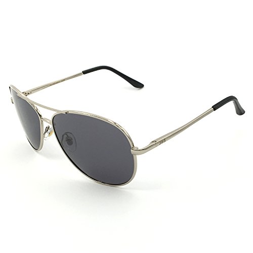 J+S Premium Military Style Classic Aviator Sunglasses, Polarized, 100% UV protection (Large Frame - Silver Frame/Gray Lens)
