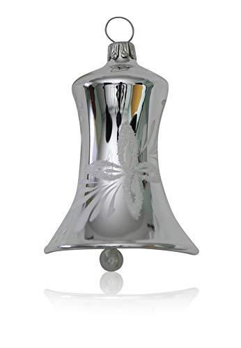 Glocken klein silber mit weißen Blumen 3 Stück d 5cm Christbaumschmuck Weihnachtsbaumschmuck mundgeblasen handdekoriert Lauschaer Glas das Original