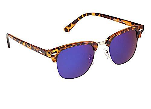 CHICNET Gafas de sol para hombre y mujer con puente de metal y almendras decorativas de metal y acrílico, protección UV 400, moderna forma semimontura, espejo y tintada, azul,