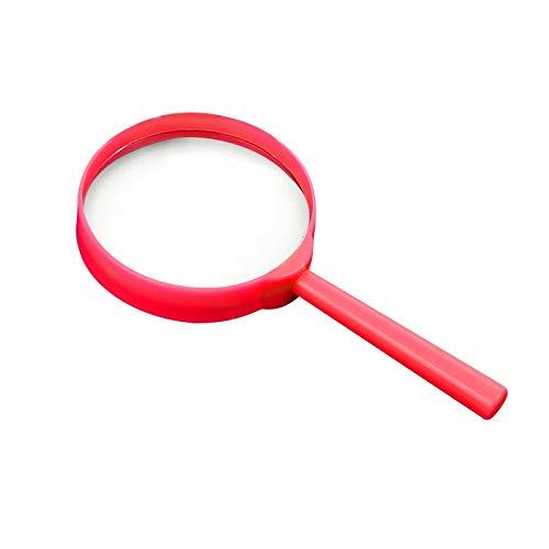 FYYONG 3X portátil Lupa de Aumento portátil LoupeReading Lente de Cristal de Aumento for los niños de Inspección de Lectura 60mm Colorido (Color : Rose Red)