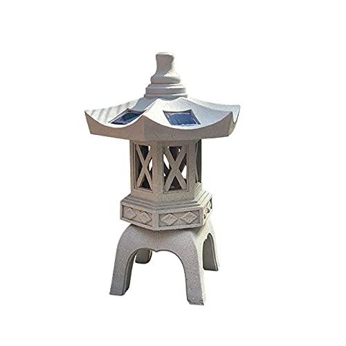 YAOJIA estatuas Decorativas para jardín Adornos De Linternas Solares Al Aire Libre   Luces Japonesas para Estatua De Jardín Solar Zen, Luces De Pagoda, Anticongelante, Gris Piedra (Size : C)