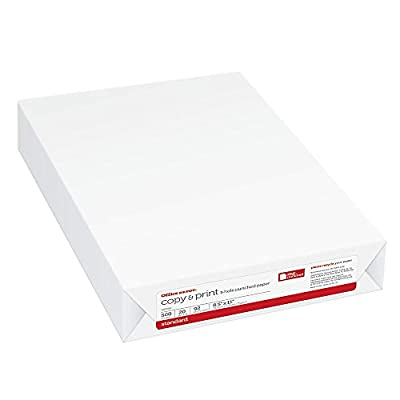 "Office Depot Copy and Print Paper, 3-Hole Punched, Letter Size (8 1/2"" x 11""), 20 Lb, Ream of 500 Sheets"