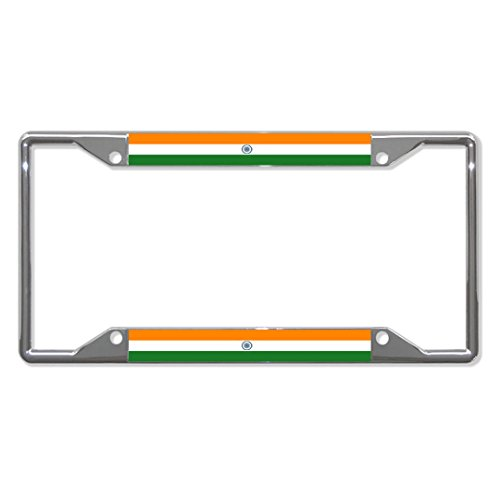 India Flag Country Metal License Plate Frame Tag Holder Four Holes Perfect for Men Women Car garadge Decor