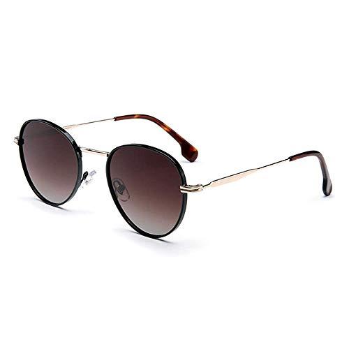 WSYGHP Gafas de sol polarizadas UV400 para mujer, modelos femeninos, espejo de conducción, marco de metal, gafas de sol (color: marrón)