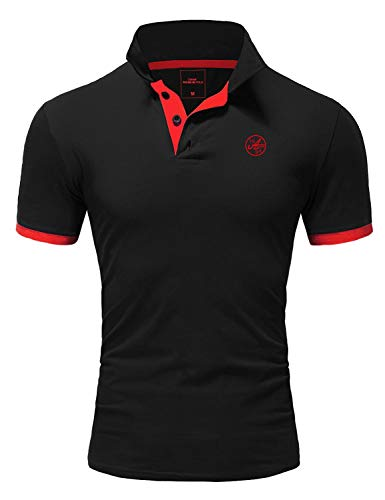 Amaci&Sons Herren Poloshirt Basic Kontrast Stickerei Kurzarm Polohemd T-Shirt 5103 Schwarz/Rot L