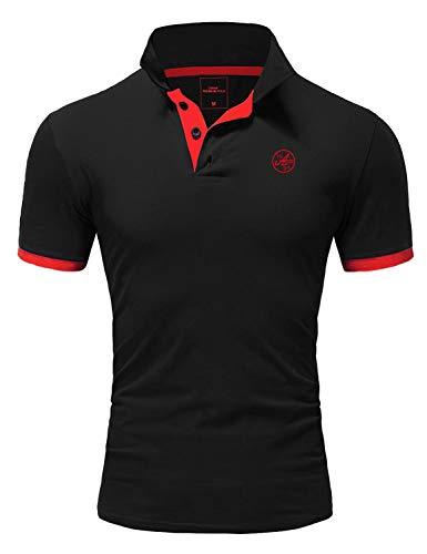 Amaci&Sons Herren Poloshirt Basic Kontrast Stickerei Kurzarm Polohemd T-Shirt 5103 Schwarz/Rot XL