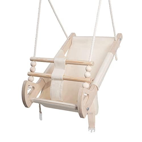 Stoffschaukel Kinder für Kinder mit Sitzgurt | Kleinkindschaukel für Draußen aus Holz und Baumwolle | Baby Hängeschaukel modernes Design | 100{0059844eeb2b7a6a990841d546b5aa40eadb8eb667a3b519555b81acae046bc0} ECO | Made in EU (Stoffschaukel Beige)