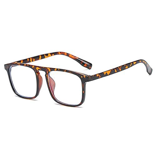 Gafas De Sol Monturas De Gafas Cuadradas Anti-Azules Vintage para Mujeres Y Hombres, Montura De Gafas Ópticas Transparentes, Gafas para Ordenador, Gafas C2Leopard