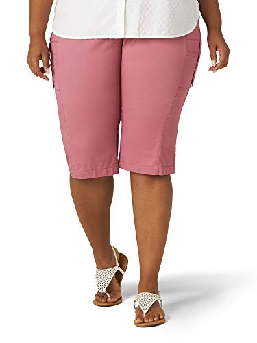 Lee Women's Plus Size Flex-to-Go Relaxed Fit Cargo Skimmer Capri Pant, Mulberry, 14W Medium