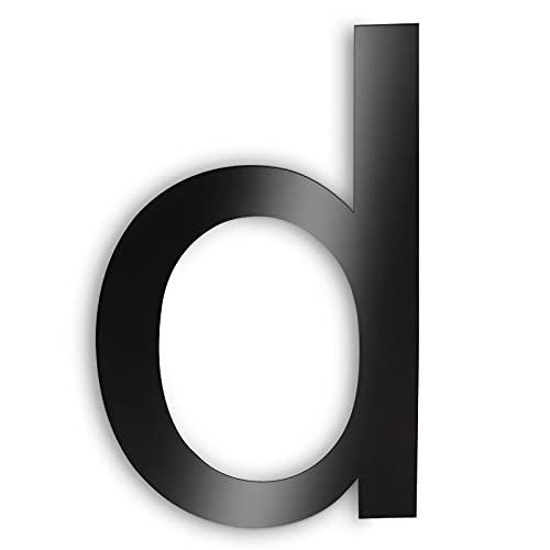 Número de casa de acero inoxidable, número de calle y número de puerta, color negro oscuro, antracita, estructura fina con revestimiento de polvo, altura 203 mm, letra D Arial