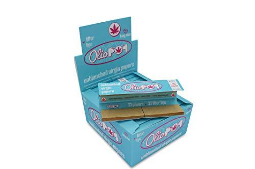 OLIOPOP Papel de Liar Fumar Largo Marrón + Filtros de Cartón 24 libritos
