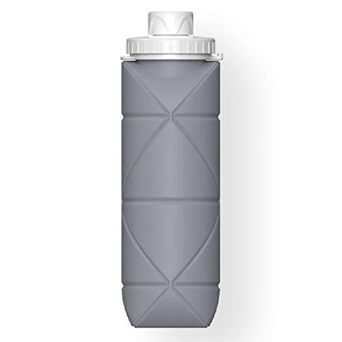 HTTC Taza de Viaje Plegable de Silicona, Botella de Agua de Camping Plegable con Tapa, Aislamiento de Calor portátil y Taza de Silicona recirculante, Botella Deportiva de Gray