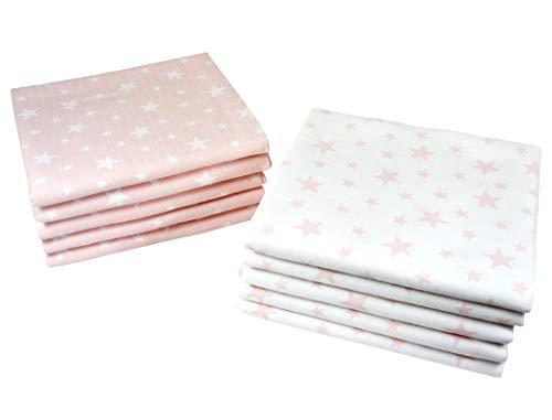 Baby Mullwindeln 10 Stück Sterne | Spucktücher | Stoffwindeln 80 x 70 cm | Saugfähige Mulltücher | Öko-Tex (5 Rosa, 5 Weiß)