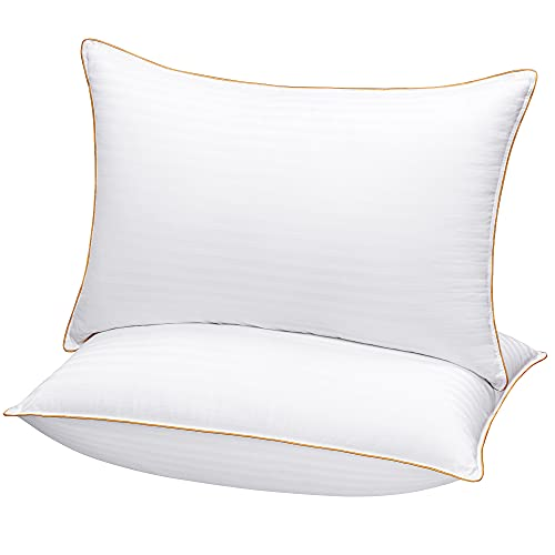 King Size Bed Pillows for Sleeping - 20x36, 2-Pack - Mid Loft - Soft Fiber Fill - Hypoallergenic - Stripe Cotton Covers - Top Alternative to Feather and Down Bedding, Fit California King and Twin Bed