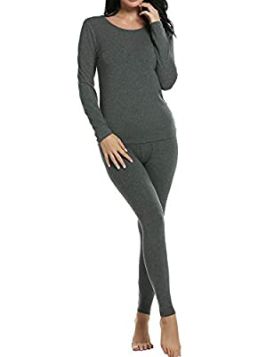 Ekouaer Long Johns Set Womens Soft Modal Light Weight Thermal Underwear Pjs (Gray,XL)