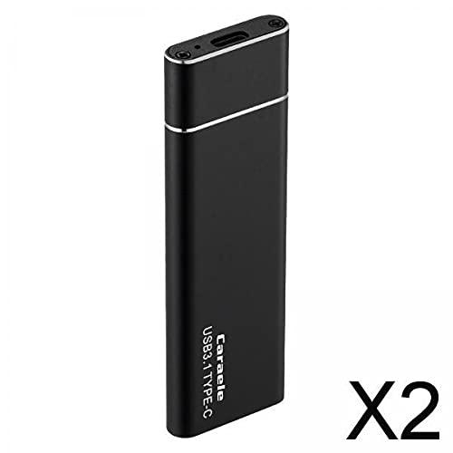 H HILABEE 2x1T Alloy External Portable SSD USB3.1 para Tabletas Android Computadoras Portátiles Negro