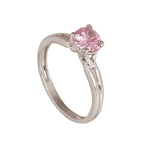GEMHUB Anillo de plata de ley 925 con circonita rosa de corte redondo de 1,7 g, anillo de compromiso US-6