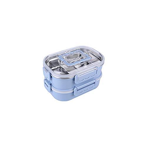 Atack-B Bento-Box, Erwachsenen Kinder Fünf-Kasten-Lunch-Box, Lebensmittel-Box Anti-Leakage, Leicht Zu Tragen, Kann In Der Mikrowelle Erhitzt Werden (Blue,Doppelschicht)
