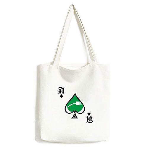 Green Plug Cable Charging Cable Pattern Handbag Craft Poker Spade Bolsa Lavable