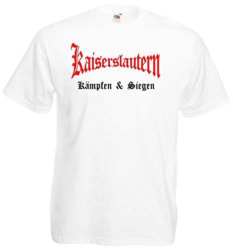 Kaiserslautern Herren T-Shirt kämpfen und Siegen Ultras Shirt Weiss L