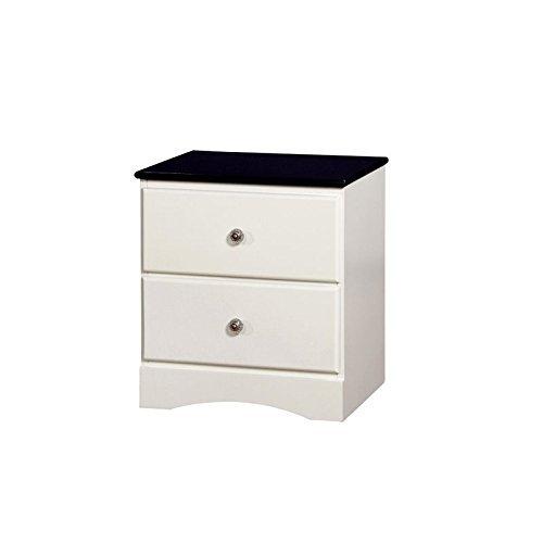 Furniture of America Beller Transitional 2-Drawer Nightstand, Blue & White