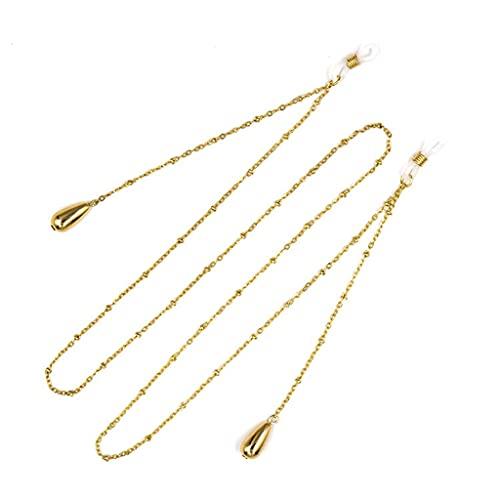 NJBYX Cadena de gafas de oro para las mujeres cuentas redondas Lanyard Fashion Glasses Strap Gafas de sol cables Casual Glasses Accesorios (Color : A, Size : Length-70CM)