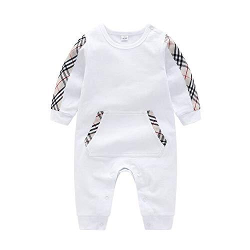 BABIFIS 2019 Primavera Europea Bebé Blanco Y Azul Oscuro Pieza de algodón de Manga Larga Mameluco Ropa de Escalada Niños bebés y niñas Mameluco