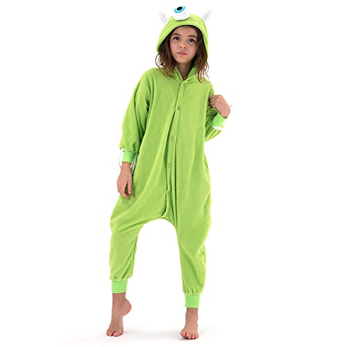 Beauty Shine Unisex Child Cartoon Costume Halloween Onesies Plush Cosplay Pajamas (Mike Wazowski, 10 Years)